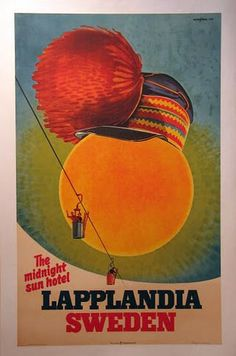Travel Vintage Sweden Midnight Sun Poster