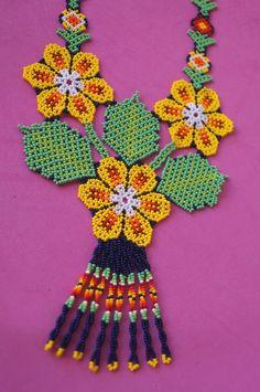 Huichol Necklace Beaded Multicolor Mexican Folk Art Mexico Hippy New Culture   eBay