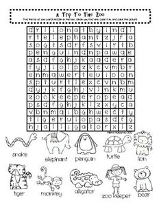 Free Zoo Word Search Activity
