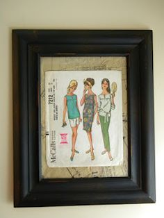 Frame old sewing patterns with pattern tissue as mat or background.