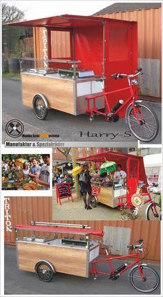 Matador Sales Bicycle with Wok Cooker (Copy) Mobile Coffee Cart, Mobile Coffee Shop, Mobile Food Cart, Food Cart Design, Food Truck Design, Mein Café, Bike Food, Food Truck Business, Food Kiosk