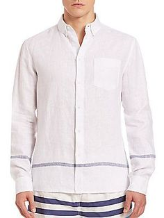 Solid and Striped Linen Sportshirt -
