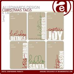 Christmas Memory Tags - Digital Scrapbooking Elements DesignerDigitals