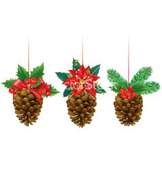 Christmas decorations from pine cones vector 1681158 - by pinkcoala on VectorStock®