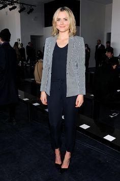 Taylor Schilling. Jumpsuit with a smart blazer