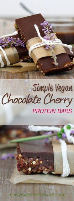Simple Vegan Chocolate Cherry Protein Bars