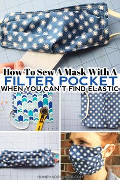Learn how to sew a mask with a filter pocket when you can't find elastic. Use headbands or ponytail holders instead of elastic for this filter pocket mask! #homemadegingerblog #diyfacemask #facemaskfilterpocket #howtosewafacemask