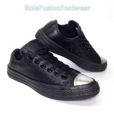 Converse Womens All Star Leather Trainers Black Size 5 Silver SNEAKERS 37.5  US 7 for sale online  fa9ac964a