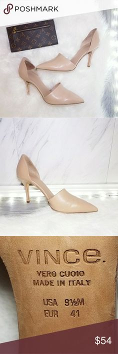 Vince Size 9.5 Nude Tan Cream Pumps Shoes ITALY Hotter than ever this season! A dose of chicness to your everyday wardrobe. Comfortable go with just about everything. Super easy to dress them up or down. Absolutely stunning   . Size 9.5  . Brand Vunce  . Condition Good  . Color Cream/nude see photos  . Bundle & SAVE 25% off 🍍  . Reasonable offers welcome😃  No additional shipping charge when you purchase more from my closet   Every purchase will be packed with Care & a Special FREE GIFT 🎁…