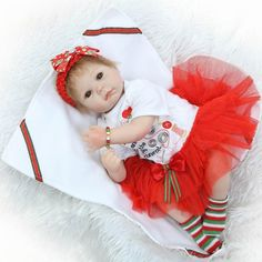 89.78$  Buy now - http://alih21.worldwells.pw/go.php?t=32767054973 - 22 inch 55 cm silicone baby reborn dolls lifelike doll newborn toy girl gift for children birthday xmas