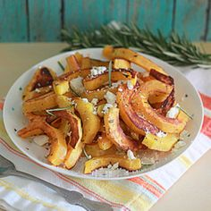 Oven-Roasted Delicata Squash with Rosemary & Feta