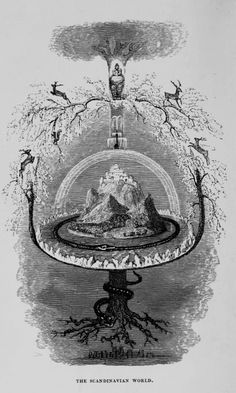 """Annie Keary - The Scandinavian World, """"The Heroes of Asgard and the Giants of Jötunheim"""",1857.  Vintage illustration showing the evil serpent Jormungand encircling Midgard. In the center there is Yggdrasil, the World Tree, with a wise eagle, a hawk, four stags and squirrel. Its roots support a Rainbow Bridge Bifrost and Asgard with the great hall of the Gods Gladsheim. Its roots descend to the dark region Niflheim."""