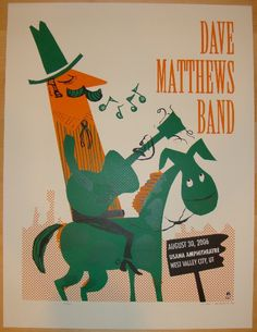 "Dave Matthews Band - silkscreen concert poster (click image for more detail) Artist: Methane Studios Venue: USANA amphitheatre Location: West Valley, UT Concert Date: 8/30/2006 Size: 19"" x 25"" Edition"