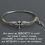Womens Jewelry, Silver Serenity Prayer Bracelet with Dangle Cross and Angel Wings