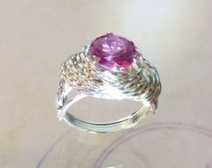 Pink Sapphire Womens Ring Wire Wrapped Jewelry Handmade in SIlver FREE SHIPPING