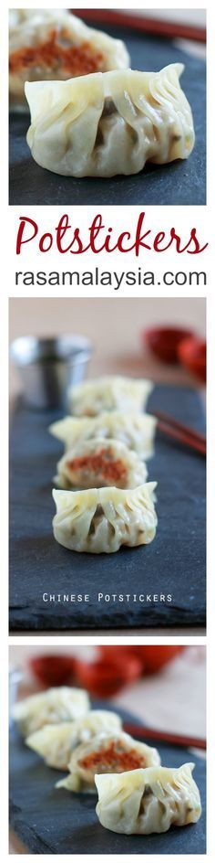 Potstickers are Chinese dumplings with ground meat, veggie, pan-fried and then steamed. Easy and the BEST potstickers recipe you can make at home | http://rasamalaysia.com