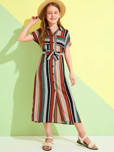 Casual Frocks, Dressy Casual Outfits, Cute Skirt Outfits, Cute Dresses, Girls Fashion Clothes, Teen Fashion Outfits, Kids Outfits, Kids Dress Wear, Dresses Kids Girl