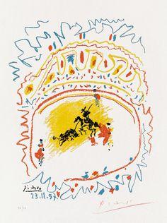 Pablo Picasso, La Petite Corrida (The Little Bullfight), 1957 Masterworks Fine Art. Original Picasso lithograph for sale.
