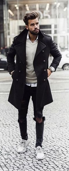 Fall Fashion Inspiration With A Black Topcoat Cream V Neck Sweater White Button Up Shirt