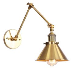 Adjustable angle: vertical adjustable swing arm wall lamp can be moved up and down, you can maximize the lighting potentials by adjusting the light angle. Easy install: includes all mounting hardware for quick and easy installation. Aiwen Wall Sconces Swing Arm Cone Wall L-Amp in Gold Finish | US-WS-LBD-GG203 Wall Mount Light Fixture, Wall Mounted Light, Light Fixtures, Swing Arm Wall Sconce, Wall Sconce Lighting, Wall Sconces, House Lighting, Kitchen Lighting, Gold Walls