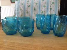 8 Vintage Turquoise Blue Aqua Diamond Glasses - 4 Juice and 4 Low Balls - RARE