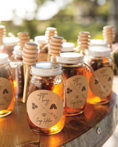 A beekeeper friend of the couple's made a batch of organic honey for them to give as favors.