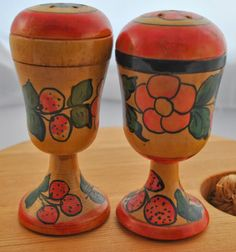 Salt and Pepper Shakers Russian handpainted by kimple674250, $10.00