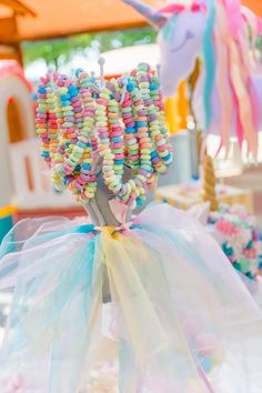 Dress Form Candy Necklace Stand from a Rainbows and Unicorns Birthday Party on Karas Party Ideas 6 Rainbow Unicorn Party, Unicorn Themed Birthday Party, Rainbow Birthday Party, Unicorn Birthday Parties, Birthday Party Decorations, Birthday Bash, Unicorn Decorations Party, 5th Birthday Party Ideas, Ideas Party