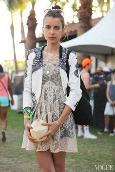 Vera Balyura Helmut Lang jacket, Verameat jewelry Coachella Street Style