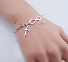 Tiny cross pendant Infinity bracelet Silver by LovelyGiftidea, $2.99