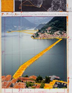Christo and Jeanne-Claude. Water Projects Pierre-Jean Maurel - Christo, The Floating Piers (Project for Lake Iseo Italy), Photo: André Grossmann. © Christo Christo and Jeanne-Claude. Christo Floating Piers, Casablanca, Folies Bergeres, Christo And Jeanne Claude, Bulgaria, Der Plan, Architecture Drawings, Landscape Drawings, Landscape Art