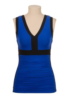 Ruched side v-neck colorblock tank - maurices.com
