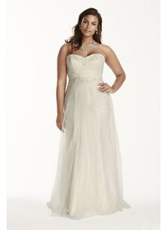 Strapless Tulle Over Lace Plus Size Wedding Dress 9WG3750