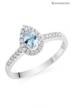 ef0dadecc Womens Beaverbrooks White Gold Aquamarine And Diamond Ring - Gold