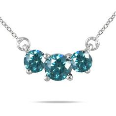 1/4 Carat TW Blue Diamond Three Stone Pendant Necklace in 14K White Gold - TPR0025HA1BE