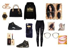 """Flyy black and gold outfit"" by im-tha-kidd on Polyvore featuring NIKE, Rolex, Michael Kors, Brian Lichtenberg, Retrò, Alex and Ani, Frency & Mercury and Yves Saint Laurent"