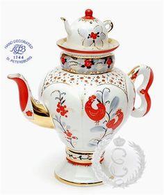 Ekaterina's Imperial Porcelain &Tea. Tea Pot Samovar Roosters