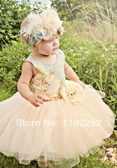Free Shipping Custom Made Cute One-Piece Babygirl's Summer Dress With Lace Crepe Chiffon Fake Flower For Birthday Party Wedding $55.00
