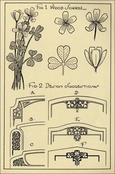 """Simplicity!  """"In the language of flowers, the wood sorrell"""" represents affection & joy.  Illustration and information from:  """"Monumental Drawing and Design: The Wood Sorrel in Applied Ornament,"""" by Dan B. Haslam, in  Design Hints For Memorial Craftsman Magazine, Vol. 3, No. 10, April 1927, pp. 10-11, 21."""