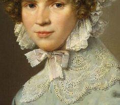 Particolari di opere, terza parte. Christian Albrecht Jensen: Ritratto di Lady in blu. Olio su tela, del 1824.