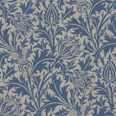 Thistle Fabric - Indigo/Linen - William Morris & Co Volume V Prints Fabrics Collection Arts And Crafts For Teens, Art And Craft Videos, Arts And Crafts House, Easy Arts And Crafts, Arts And Crafts Projects, William Morris Wallpaper, Morris Wallpapers, Print Wallpaper, Fabric Wallpaper