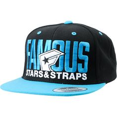 "Hit the streets in Famous swag and style in the Blockout hat from Famous Stars & Straps. This black and cyan blue snapback hat features a black body with bright blue bill, eyelets, snapback adjustment and top button. The blue and white embroidered ""Famous Stars & Straps"" logo on the front of this 6-panel flat billed hat completes the look you are going for."