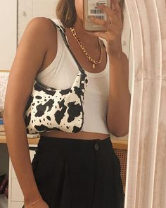 Feb 2020 - I am loving the vintage vibes from this outfit. This cow print purse is absolutely adorable. Accessories are forever completing my outfits. Aesthetic Fashion, Aesthetic Clothes, Look Fashion, 90s Fashion, Fashion Outfits, Fashion Beauty, Aesthetic Outfit, Fashion Bags, Winter Fashion