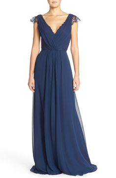 Hayley Paige Occasions Lace & Chiffon Cap Sleeve Gown | Nordstrom