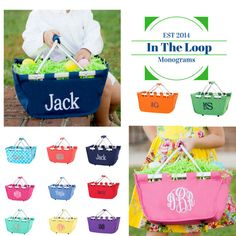 Easter is around corner! You will love these adorable personalized mini Easter totes you can use not only for Easter, but for storing craft items and favorite toys. Many colors to choose from!  -------------------HOW TO ORDER----------------  In the Notes to seller box, please specify the following information.  1. Name or Initials ( Place initials in the following order...First Initial, Last Initial, Middle Initial).  2. Font Style (See the last photo in the listing for samples).  3. Thread…