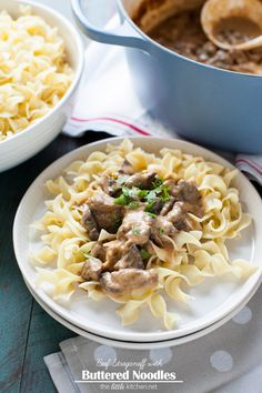 Beef Stroganoff with Buttered Noodles Recipe from thelittlekitchen.net @noyolksnoodles @kitchendailypin