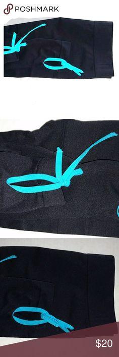 NWOT TIE BOTTOM SKINNY LEGGINGS Design as Shown Black Leggings w Turquoise ties @ Bottom Never Worn NWOT George Pants Leggings