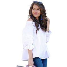 >> Click to Buy << White Women T-Shirt Slash Neck Long-Sleeve Off Shoulder Sexy Tops Crop Tops Tee Shirt Femme Back Bow Ruffle Puff Sleeve LJ8879U #Affiliate