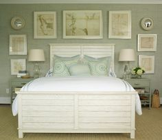 Vintage maps above the bed; light gray or sage wall for master bedroom