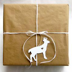 Set of 6 Papercut Woodland Animal Ornament Gift Tags (Bear Deer Owl Fox Rabbit Squirrel)